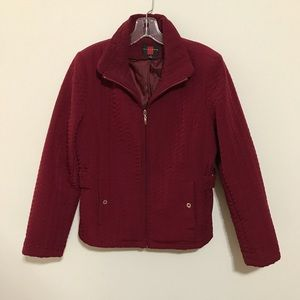 Gallery Quilted Jacket in Cranberry Red Color Sz M